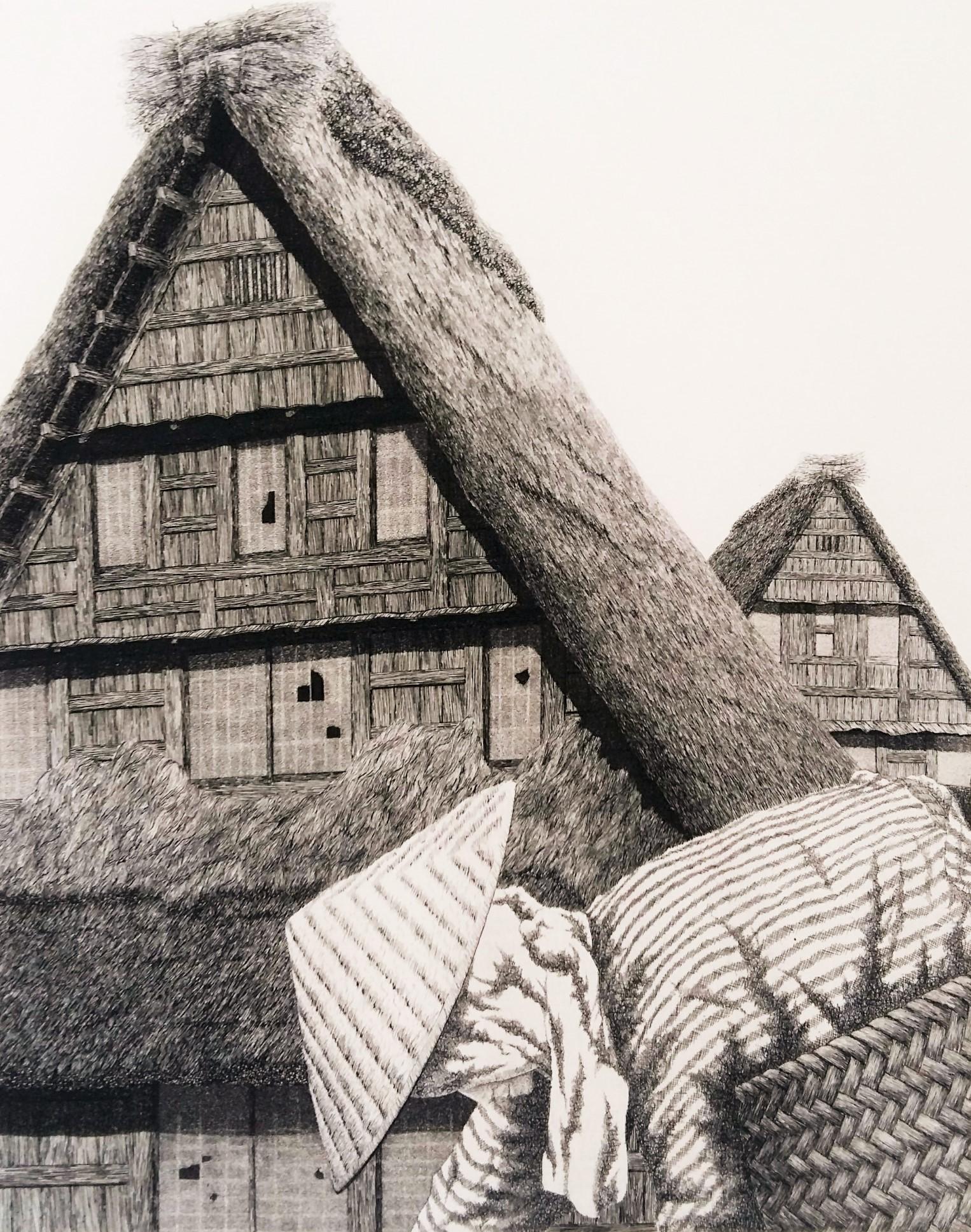 Tanaka Ryohei TR 133.Roofs of Hida 5. 1974. 30 x 24 cm. Ed 100. (2)